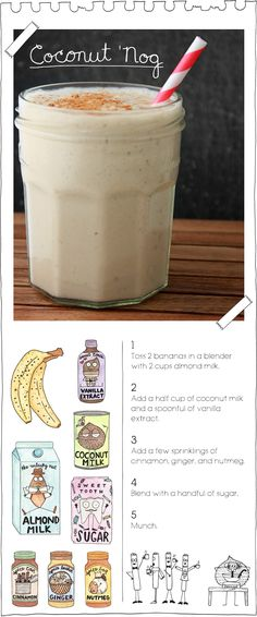 "The Vegan Stoner's Coconut 'Nog. Add a few extra frozen bananas for an delicious ice ""cream""!"