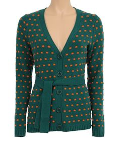 This Evergrade & Orange Polka Dot Wool-Blend Cardigan by Louie et Lucie is perfect! #zulilyfinds