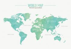 Travel smart living tips tricks pinterest adult coloring watercolor world map vector graphic international watercolour cartography continents topography gumiabroncs Gallery