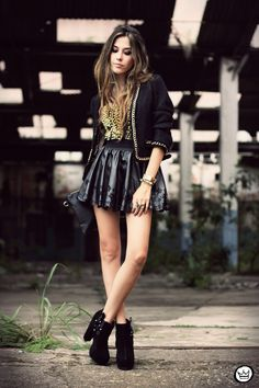 Laser Cut Leather Skater Skirt