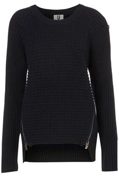 Black knitted jumper with zipers