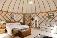 Priory Bay Yurt luxury interior - nuther gorgeous view of how beautifully yurts… Note: this looks like the idea of having a separate yurt as a bathroom connected to bedroom Home Interior, Luxury Interior, Interior Design, Interior Ideas, Interior Inspiration, Hotel Cabanas, Luxury Yurt, Mongolian Yurt, Yurts