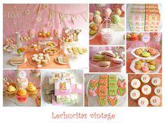 Lechucitas y motivos de la naturaleza en pera, durazno y rosa pastel.  Mesa dulce con cupcakes, popcakes, whoopies, cookies, marroc, chocolatines y yapas, minimilhojas y macarons. Accesorios de decoración y ambientación.