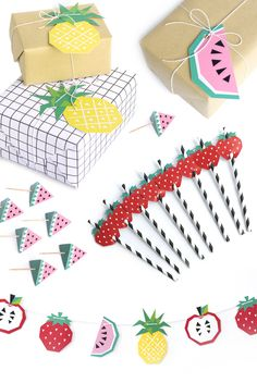 Bright and bold fruit paper party decorations and gift tags from The Chaos Club, via we-are-scout.com.