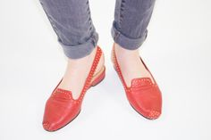 Vintage Bandelino Slingbacks | 70s Red Leather Gold Stud Strap Shoes | US 6 UK 4 Euro 35 - 36 by MainAndGrand on Etsy https://www.etsy.com/listing/251608723/vintage-bandelino-slingbacks-70s-red