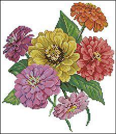 Pillows from Paula's Garden - Zinnia Cross Stitching, Cross Stitch Embroidery, Embroidery Patterns, Machine Embroidery, Cross Stitch Bookmarks, Cross Stitch Charts, Cross Stitch Patterns, Cross Stitch Flowers, Zinnias