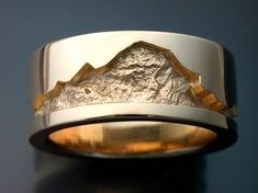 14k gold man's wedding band with rock by Metamorphosisjewelry, $1440.00