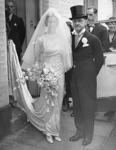 1936: British author William Somerset Maugham with his daughter Elizabeth before her wedding to Vincent Paravicini