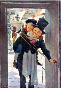 "Jessie Willcox Smith : Bob Cratchit and Tiny Tim, Illustration for ""A Christmas Carol"", written by Charles Dickens Dickens Christmas Carol, Christmas Past, Xmas, Christmas Shopping, Victorian Christmas, Vintage Christmas Cards, Vintage Cards, Christmas Postcards, Jessie Willcox Smith"