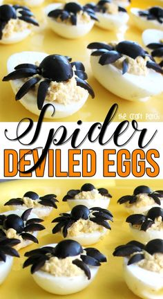 Spider deviled eggs are the perfect spooky food idea for Halloween! Plus more fun Halloween party foods.
