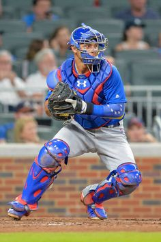 Chicago catcher Willson Contreras prepares to throw to second base during a game between the Chicago Cubs and the Atlanta Braves on July 18, 2017 at SunTrust Park in Atlanta, GA.