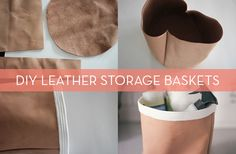 DIY leather & rope baskets