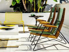 poolside + woven seating + retro