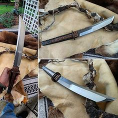 Hidden Tang Waki, I can scratch that off the list of things I always wanted to make! Cool Knives, Knives And Tools, Knives And Swords, Master Sword, Swords And Daggers, Arm Armor, Cold Steel, Fantasy Weapons, Custom Knives