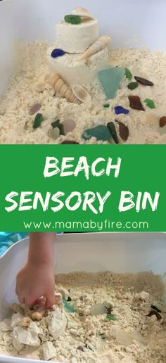 The weather is too cold to venture to the beach, but we can bring the beach inside with our Beach Sensory Bin.