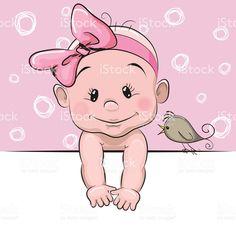 Bonito desenho de menina de bebê vetor e ilustração royalty-free royalty-free