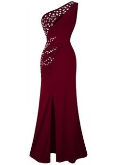 Lovely beaded one shoulder 2015 under $50 dollar maroon formal prom homecoming cheap dress