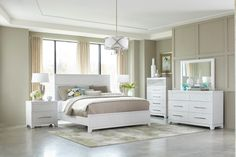 Clearance Contemporary White 4 Piece Queen Bedroom Set Utopia