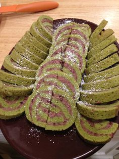 Matcha green tea jelly roll w red bean filling