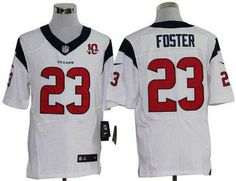 8fac00f89 Nike Texans  23 Arian Foster White With 10th Patch Men s Stitched NFL Elite  Jersey Emmanuel