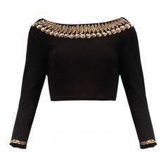 Pramukh Enterprise Black Silk Sequins Work Blouse Material #SareeBlouse #Black
