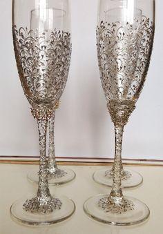 Wedding silver glasses Champagne flutes by WeddingArtGallery