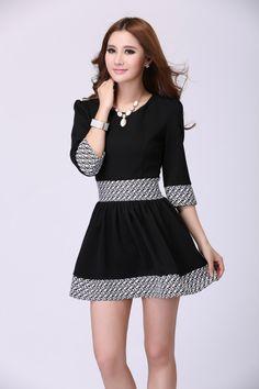 O Neck Long Sleeves Black Mini Dress (US$19.99)