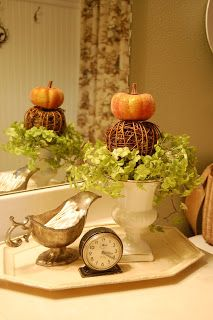 97 best Bathroom Decor Ideas images on Pinterest   Bathroom ideas     Like the eclectic objects and arrangement   pumpkin and plant decor   Changing Seasons  Easy Autumn Bathroom Decor from Bathroom Bliss by Rotator  Rod