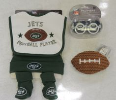 NEW NFL New York Jets Football Gift Set, Hat, Bib, Toy, More, Baby Shower Gift