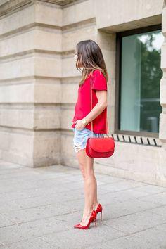 Moises Nieto Red Loose Women's Blouse   Denim Short   Leather Pumps