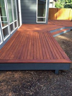 Fijian mahogany deck with timberpro uv stain www.greenworldlumber.com/product #deckdesigns #deckconstruction