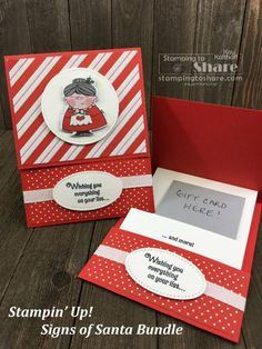 Make a Cute Signs of Santa Gift Card Holder! Signs of Santa Gift Card Holder on Best Gift Cards, Gift Cards Money, Free Gift Cards, Gift Tags, Gift Card Boxes, Christmas Gift Card Holders, Christmas Cards, Holiday Cards, Gift Card Presentation