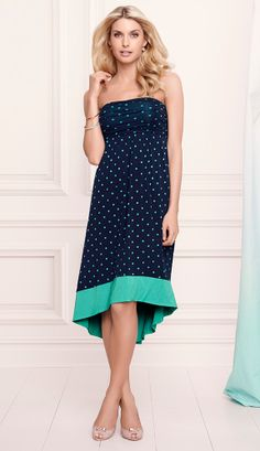 482cc29ac286 Soma Bandeau Hi-Low Midi in Winsome Dot Green Print #LoveSoma Bandeau Dress,