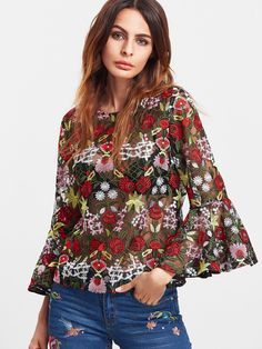 SheIn Fashion Blouse Womens Tops and Blouses Multicolor Three Quarter Length Flare Sleeve Flower Embroidered Mesh Top(China (Mainland)) Shein Mode, Blouse Sexy, Floral Tops, Floral Lace, Black Mesh Top, Zara, Blouse Styles, Blouses For Women, Printed Blouse