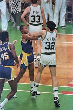 Byron Scott and Kevin McHale fighting
