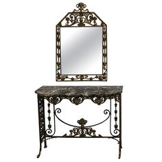 Marble and Cast Iron Console Table with Mirror by Oscar Bach 1920