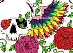 Rainbow Skull 8x10 Print with Colorful Wings and by ToniTiger415