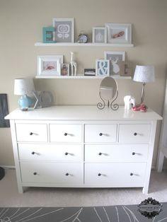 Ideas Calming Brown Bedroom Focused On Simple Yet Stylish Ikea Hemnes Dresser Set Under Floating Shelves For Girls Idea Playful IKEA Hemnes Dresser Ideas for You