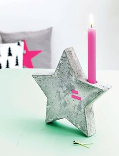 handmade concrete candlestick star-shaped pink candle