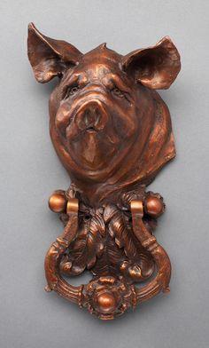 """Sandy Scott Art: Functional art: """"Pig I Door Knocker"""" Door Knockers Unique, Door Knobs And Knockers, Knobs And Handles, Door Handles, Cool Doors, Unique Doors, Door Accessories, Door Furniture, Windows And Doors"""