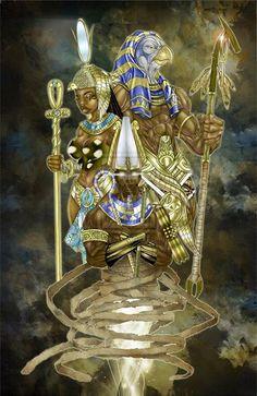 Kushite-Kemetic Spiritual Science The divine family of Abydu in Upper Kemet… Egyptian Mythology, Egyptian Goddess, Egyptian Art, African Mythology, African American Art, African Art, Ancient Egypt, Ancient History, Egyptian Tattoo
