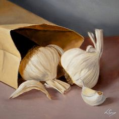 """Lorn Curry - """"Garlic Love Is Best Shared"""", 8x8 oil on panel painting. www.lorncurry.com"""