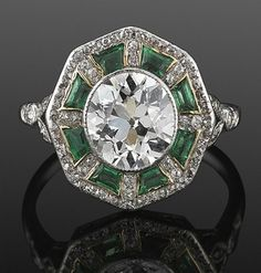 Old European Cut Diamond and Emerald Ring, circa 1915 Fred Leighton