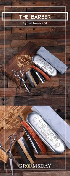 Got a buddy that can use some grooming? Then this amazing groomsman gift set will do more than you can imagine! Bringing the vintage barber shop feel back, this set consists of a sharpening stone, barber-style razor (ready to use!), scissors, and comb — all packaged inside a personalized wooden box with your recipient's name on it! Share & repin!  Only from Groomsday | Groomsday.com #groomingkit #groom #groomsmen #groomsmengifts #personalizedgifts #giftsformen #mensaccessories