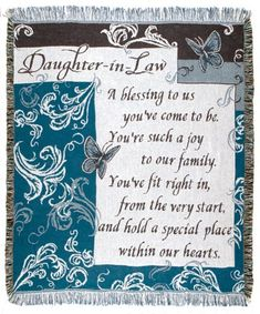 Daughter In Law Inspirational Tapestry Throw