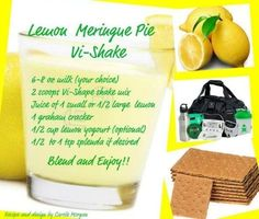 Lemon Merginue Pie Vi Shake     Get your Vi Shape shake mix here .. teamjacobs.myvi.net