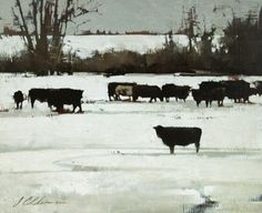 "2011, Winter Contrast by Joseph Alleman Oil ~ 9"" x 11"""