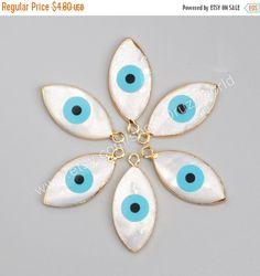 5% off On sale Gold Plated Marquise Natural White Shell Evil Eye Charm Bule Turquoise Greek Eye Charm Gemstone Bead Making…