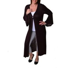 24/7 Comfort Apparel Women's Plus Size One Button Maxi Jacket, Size: 3XL, Brown