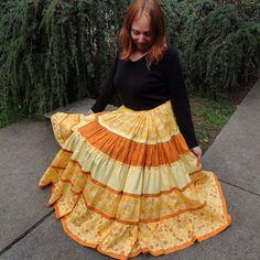 Long Golden Sunshine Bohemian Maxi Patchwork Skirt by 1000Colors, $115.00